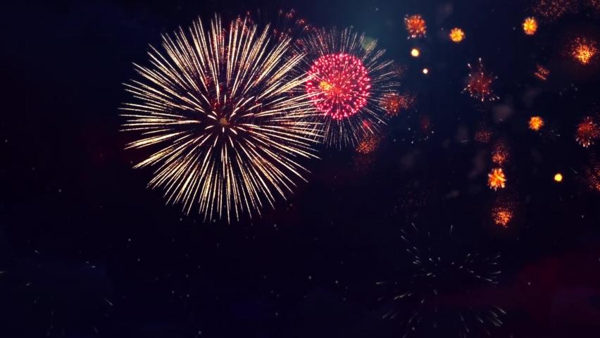 Colorful Fireworks Lighting Effect Loop Animation. Celebration Concept. Diwali festival lights.  Royalty-Free Stock Footage #1061950075