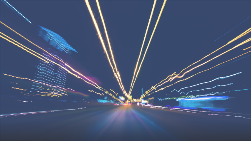 Hyperlapse motion at the night highway | Shutterstock HD Video #1061952250