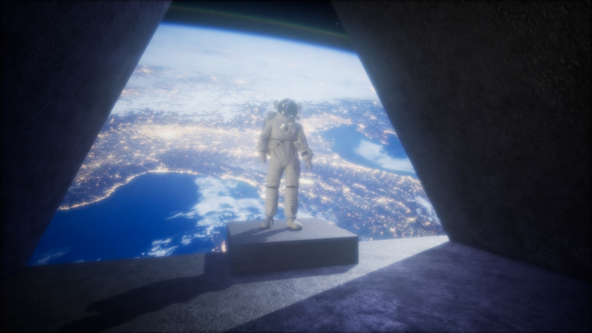astronaut on the space observatory station near Earth. elements of this image furnished by NASA