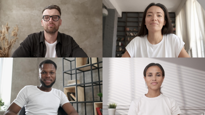 Discussing project online. Multi-ethnic group video call. Remote communication of happy multiracial young people. Working from home office during pandemic. Webcam view. Business chat conference | Shutterstock HD Video #1061959192