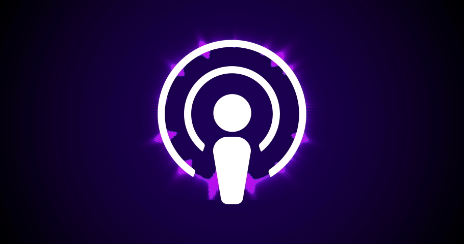 Podcast Streaming logo concept. Bright waves of equalizer play around the circle of the logo. Listening to Podcasting Radio Services.
