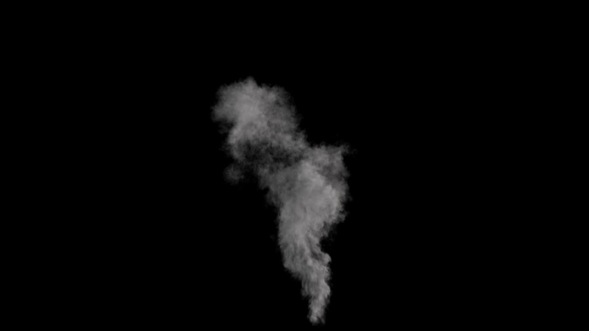 Medium smoke, suitable for smoke from chimney, black background with alpha Royalty-Free Stock Footage #1061972926