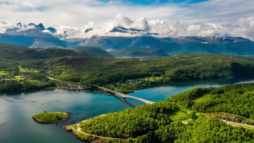 Beautiful Nature Norway natural landscape. Whirlpools of the maelstrom of Saltstraumen, Nordland, Norway Royalty-Free Stock Footage #1061985304