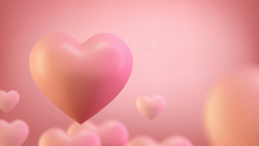 3d heart render seamless loop 4k. 3D Render of romantic background for valentines day 14 february. Love heart background for Wedding or mothers day. Royalty-Free Stock Footage #1061986702