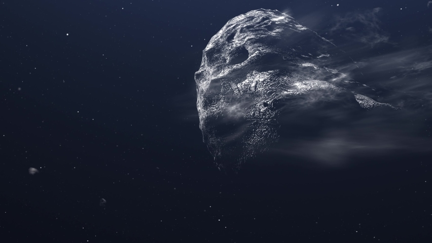 Giant Asteroid and Meteors Heading to Planet Earth 3d rendering cinematic vision, outer space view  Royalty-Free Stock Footage #1061990659