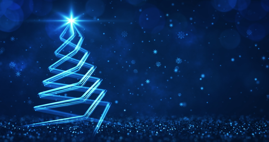 Abstract blue streaks shaped as christmas tree over the dark blue background. Christmas greetings 4k video background as seamless loop. | Shutterstock HD Video #1061997640