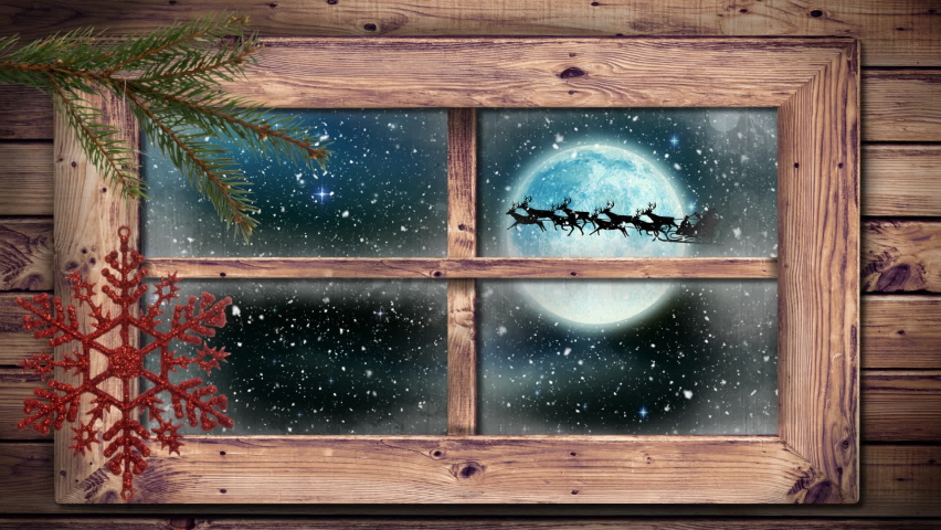 Digital animation of wooden window frame against snow falling over black silhouette of santa claus in sleigh being pulled by reindeer against moon in night sky. christmas festivity celebration