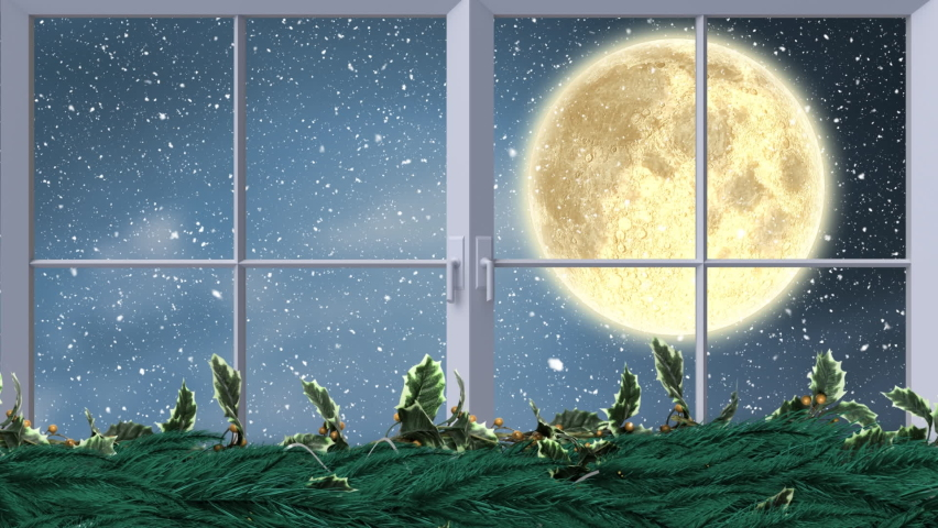 Digital animation of fairy lights and window frame against snow falling over black silhouette of santa claus in sleigh being pulled by reindeer against moon in night sky. christmas  | Shutterstock HD Video #1062001372