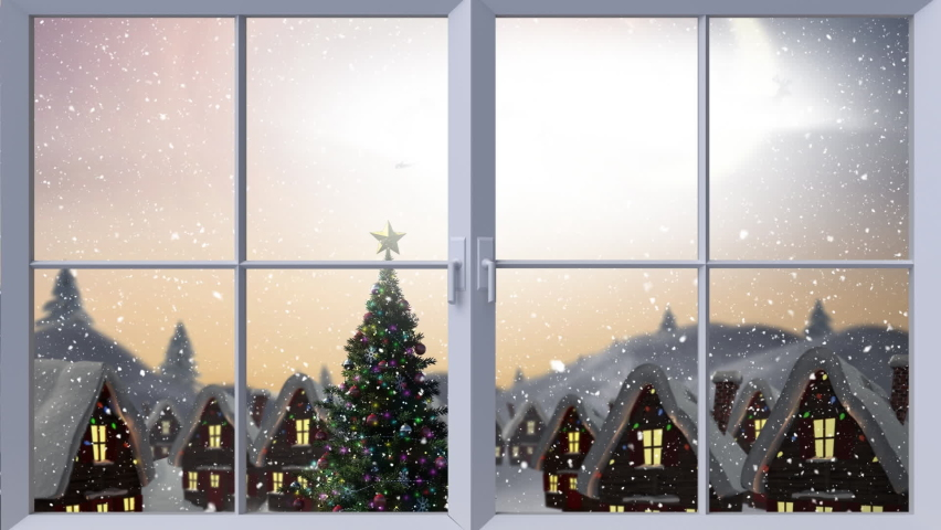 Digital animation of wooden window frame against snow falling on christmas tree and multiple house and black silhouette of santa claus in sleigh being pulled by reindeer against sky. christmas  | Shutterstock HD Video #1062001489