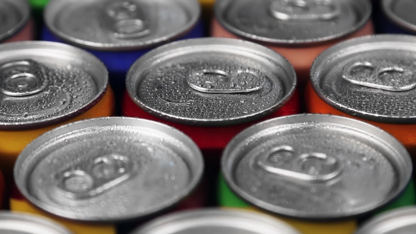 Aluminum cans with carbonated water, energy drinks or beer. Rotation video   Shutterstock HD Video #1062018355