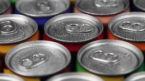 aluminum cans with carbonated water, energy drinks or beer. Rotation video
