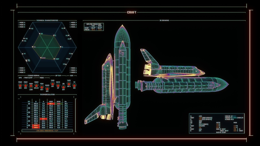 Multicolored Mission Control Center screen, displaying the status of the space shuttle modules. Futuristic space constructor interface with HUD info-graphic elements. Technology concept. Royalty-Free Stock Footage #1062022756