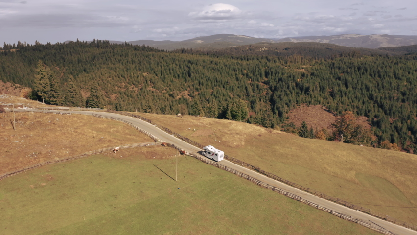 Amazing Aerial Shots of a Camper in the Apuseni Mountains in Autumn Royalty-Free Stock Footage #1062040810