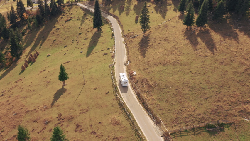 Amazing Aerial Shots of a Camper in the Apuseni Mountains in Autumn Royalty-Free Stock Footage #1062040813