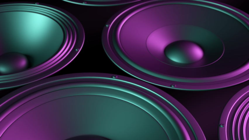 Speakers playing, membranes vibrating lit by colorful retro neon club lights. subwoofer and speakers stacked playing music in seamless loop.