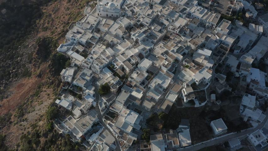 Overhead Top Down Birds View Aerial of a Greek Village    Shutterstock HD Video #1062064927