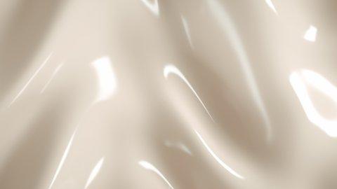 Cream nude liquid loop motion background organic plastic 3d render abstract wave, elegant textile, macro soft smooth white latex texture
