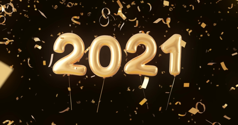 Animation for calendars and new year banners. 2021 Happy New Year confetti season's greetings video. Golden numbers on black background. 4K graphic animation holiday card. Gold color numerals on balls | Shutterstock HD Video #1062071095
