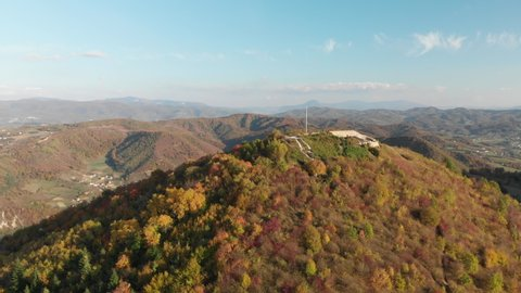 Shot over the top of the sun pyramid opens into an overview of the bosnian tale of the pyramids. Sunny day aerial wide shot.