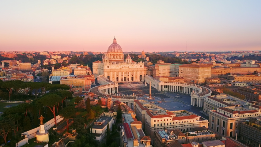 Rome vatican city san pietro basilica aerial view drone at sunrise,flight over an empty st.peter's square at dawn no people | Shutterstock HD Video #1062079159