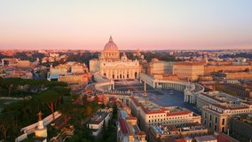 rome vatican city san pietro basilica aerial view drone at sunrise,flight over an empty st.peter's square at dawn no people