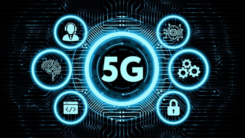 The concept of 5G network, high-speed mobile Internet, new generation networks. Business, modern technology, internet and networking concept.        Royalty-Free Stock Footage #1062083245