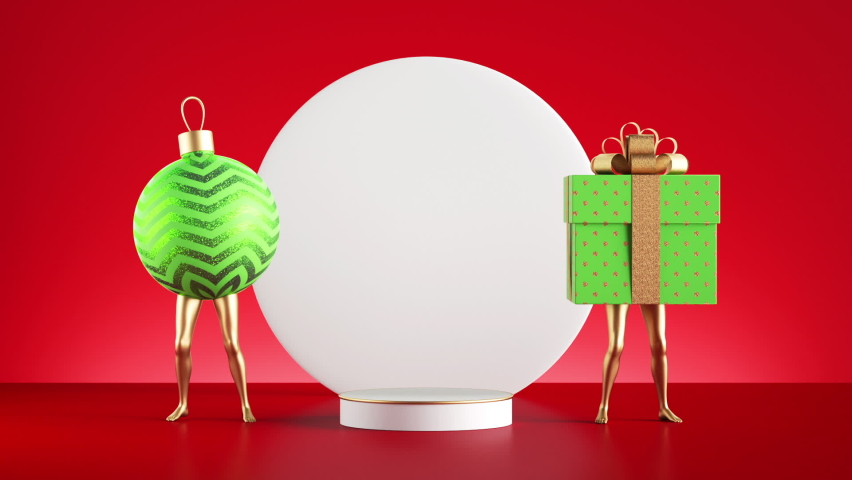 Christmas showcase mockup, looping animation of a funny 3d Gift box and ball ornament with golden legs, dancing near the empty pedestal and round blank white board, isolated on red background.