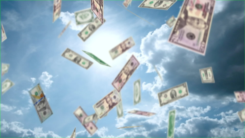 3D animated cash US dollars. banknotes fall from blue sky. Concept of business, banks, income, success, winnings. Emotional design, presentation. motion design