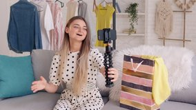 A Teenage Girl Leads a Video Blog About Fashion and the Latest Trends, Shares News With Her Subscribers. Next Generation of Beauty Influencers
