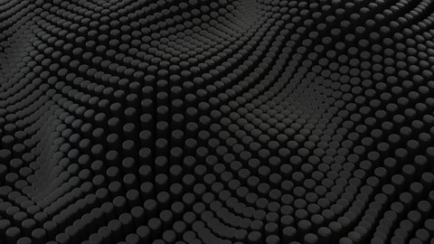 Abstract black background with cylinders. Ceramic round tiles. Geometry pattern. Random cells. Polygonal glossy surface. Futuristic abstraction. Seamless loop 3d animation of 4K