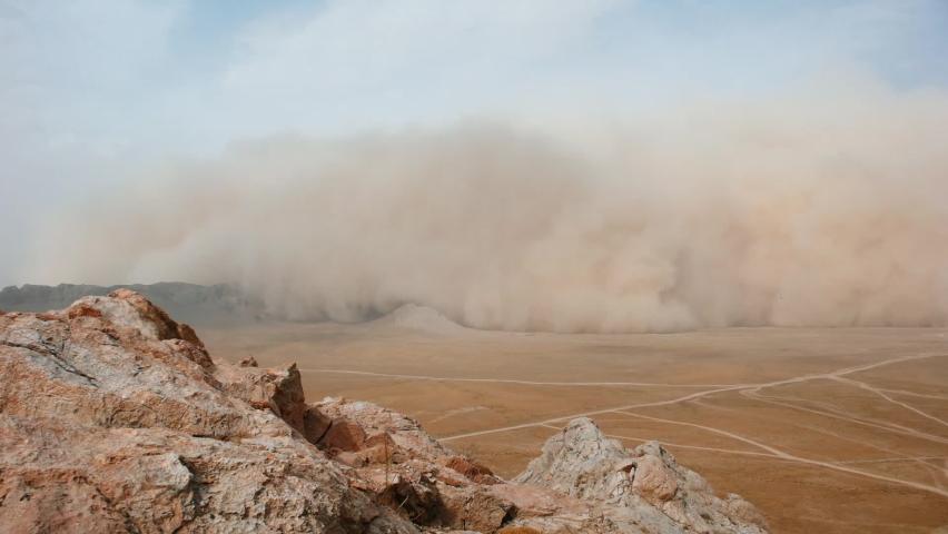 Dust Storm in Desert, Afghanistan Royalty-Free Stock Footage #1062132490