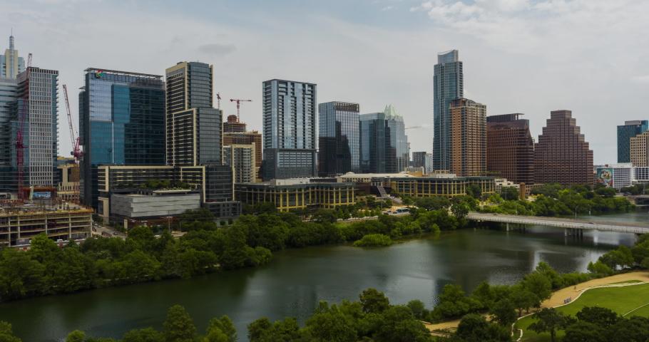 Austin, Texas Downtown City Skyline Aerial Hyper Lapse 4K