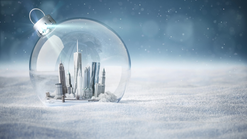 New York City Christmas snowball. New York CitySnow Globe. America in a globe, glass ball. 3d render