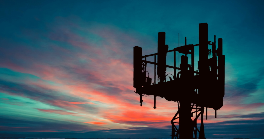 5g Antenna Cell Tower Trellis Red Sky at Dusk Timelapse. Communication Tower Time Lapse. Cell Phone Tower | Shutterstock HD Video #1062140233