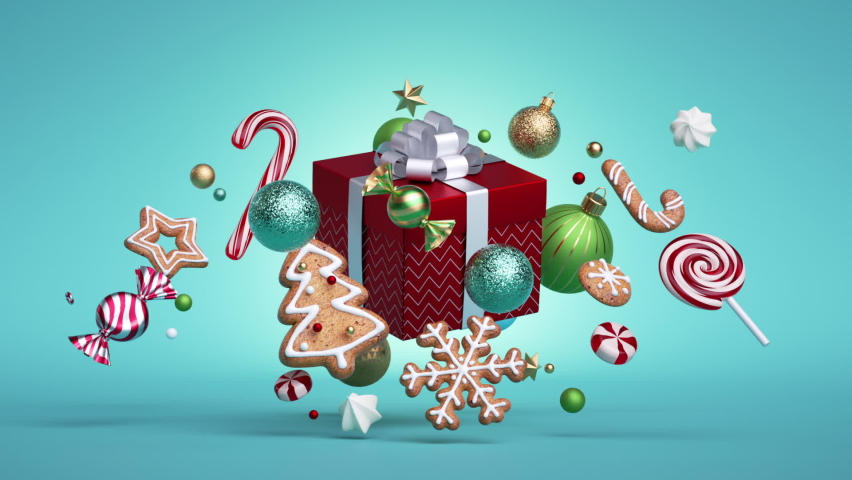 3d Christmas endless animation, looping intro. Glass balls, candy cane, caramel candies, sweets, cookies spin around the red gift box. Holiday ornaments levitate over blue background. | Shutterstock HD Video #1062142105