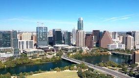 Downtown Austin Texas skyline Aerial Hyperlapse video, 4k aerial timelapse