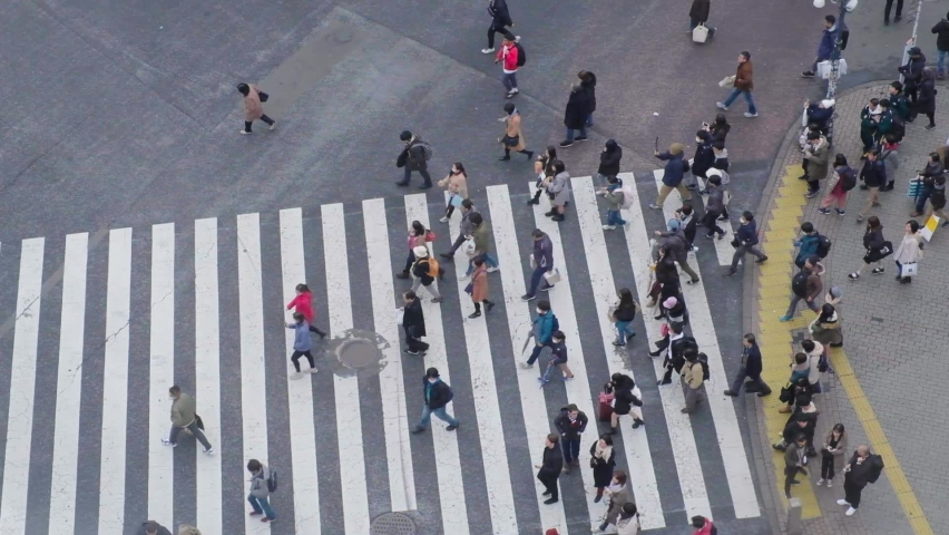 Tokyo / Japan - 01 02 2020: People crossing the road at Shibuya Crossing in Tokyo, Japan. Overhead slow motion | Shutterstock HD Video #1062153820