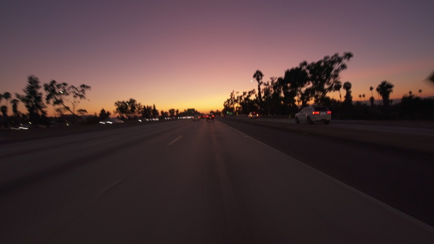 Los Angeles Santa Monica Freeway Westbound Sunset Driving Time Lapse Front View 2
