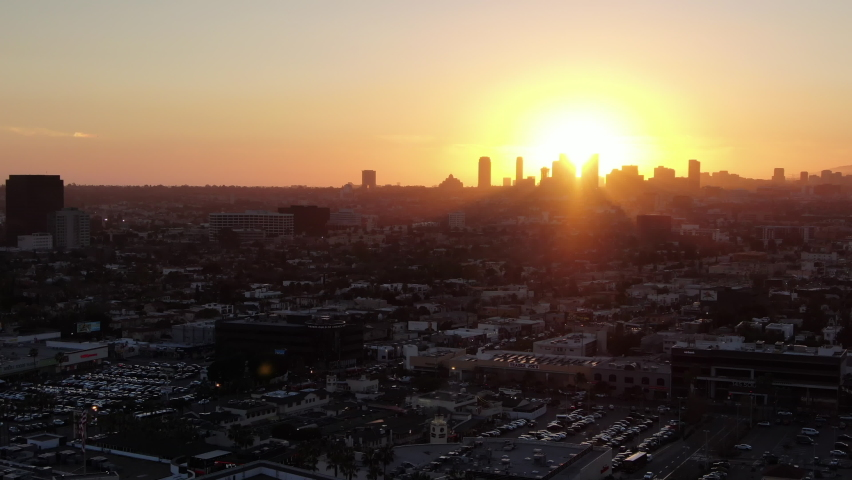 Los Angeles Century CIty Sunset from Beverly Grove Aerial Shot Telephoto Left   Shutterstock HD Video #1062156325