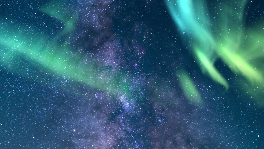 Aurora and Milky Way Galaxy Summer 85mm Southwest Sky Time Lapse Sunrise Simulated Northern Lights | Shutterstock HD Video #1062156454