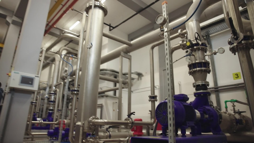 Interior of water treatment plant. Facility for purification of drinking water.