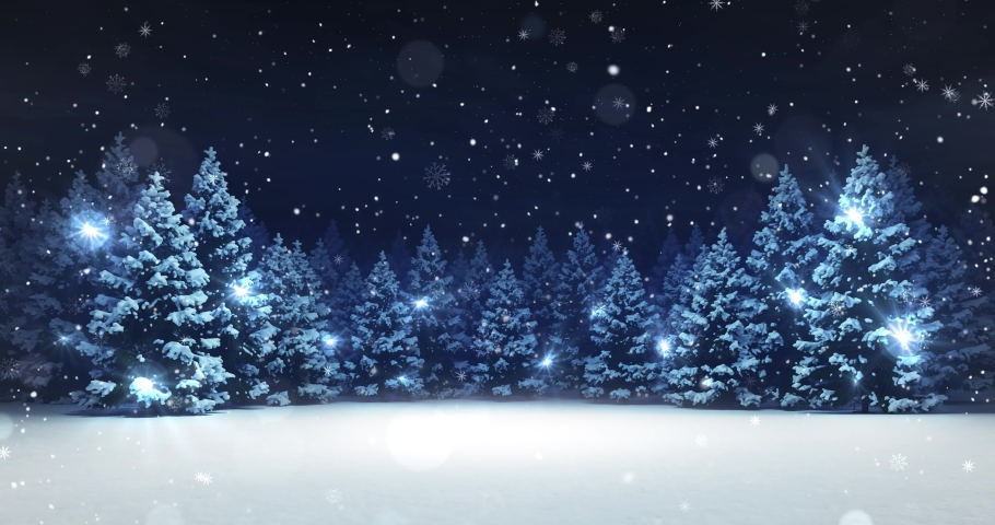 Snow covered winter forest under stormy snowfall and dark sky. Winter scene as 4k animation loop.  Royalty-Free Stock Footage #1062183157