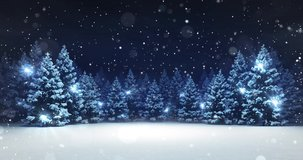 Snow covered winter forest under stormy snowfall and dark sky. Winter scene as 4k animation loop.