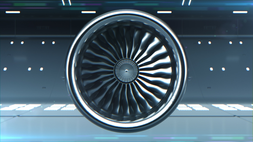 Close-up 3d Animated of Digitalization Turbine Jet Engine. Concept Visualization of Futuristic Airplane Engine Rotating Work Testing in Hangar. Loop able Motion Design Equipment Background Front View Royalty-Free Stock Footage #1062185491