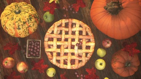 Traditional American Thanks Giving pie. Backdrop for an invitation. Happy Thanksgiving banner with Pie, autumn leaves, pumpkin pie, apples on the wooden background.