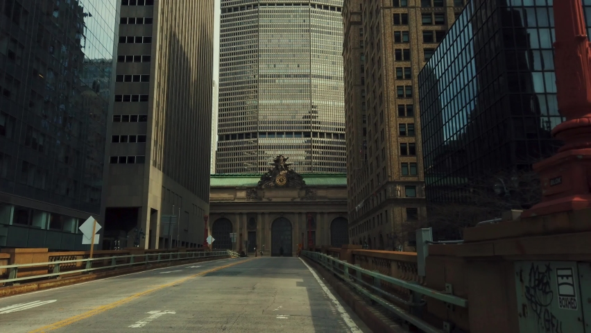 Empty street at Grand Central Terminal station in New York City. | Shutterstock HD Video #1062205684