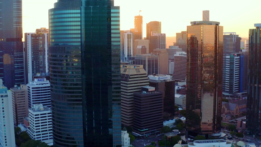Stunning Landscape Of Highrise Buildings In Brisbane CBD At Sunset In Brisbane City, Queensland, Australia. - aerial drone shot Royalty-Free Stock Footage #1062214885