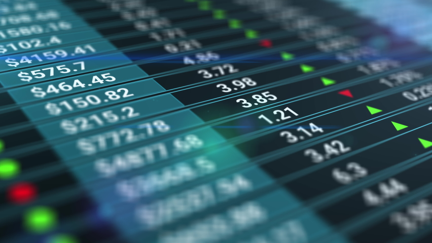 Stock market or stock exchange information with data of price, change, and volume. Animation. Financial indexes of stock companies change up and down over time market wall. Royalty-Free Stock Footage #1062219619
