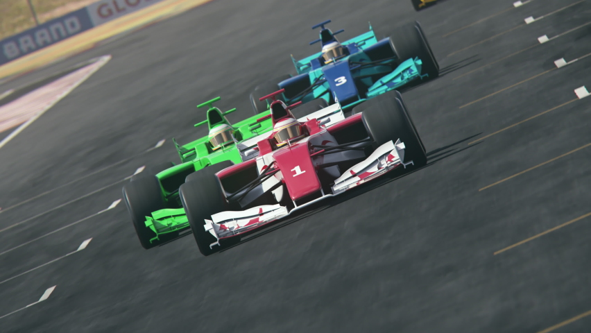 Generic formula one race cars racing along the homestretch over the finish line - dynamic front view camera – multiple cars – realistic high quality 3d animation