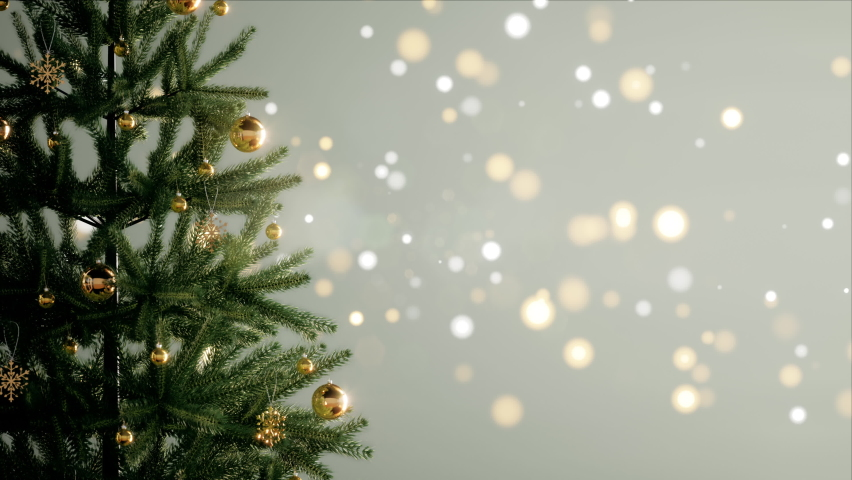 Christmas tree decorated with golden ball and snowflake with a bokeh lights background, 3d rendering blur background and fir tree for Christmas and New Year party or decoration idea.